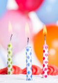 Closeup of Three Birthday Candles — ストック写真