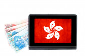 Hong Kong online banking concept with a electronic tablet showin — Stock Photo