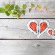 Green ivy vine and two hearts shape forming from four pieces of — Stock Photo #63434093