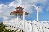 Wedding station tower on white sandy beach, Santa Maria, Cuba — Stock Photo
