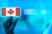 взламывание канадского понятия с рукой на ношении черного касания перчатки — Стоковое фото