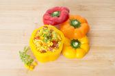 Stuffed chorizo Paella a rice dish flavoured with paprika and be — Stock Photo