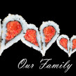 Family of four concept with hearts forming from pieces of sushi — Stock Photo #64936663