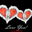 Two hearts forming from four pieces of sushi, love concept — Stock Photo #64936713