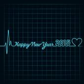 Heartbeat make happy new year — Stockvektor