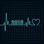 Heartbeat make happy new year — Stock Vector