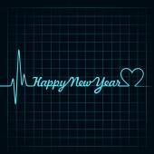 Heartbeat make happy new year — Stok Vektör