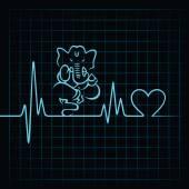 Heartbeat make elephant sign — Stock Vector