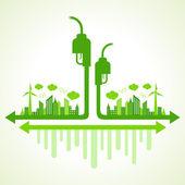 Eco cityscape with bio fuel — Stock Vector