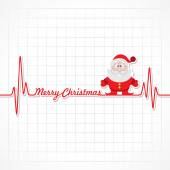 Heartbeat make Merry Christmas text and Santa — Stock Vector