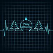 Heartbeat make Christmas symbols — Stock Vector