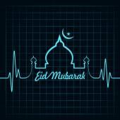 Creative calligraphy of text eid mubarak with heartbeat — Stock Vector