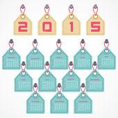 Calendar of 2015 with hanging label design — Cтоковый вектор