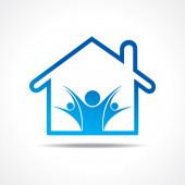 Ikona ludzie w domu — Wektor stockowy