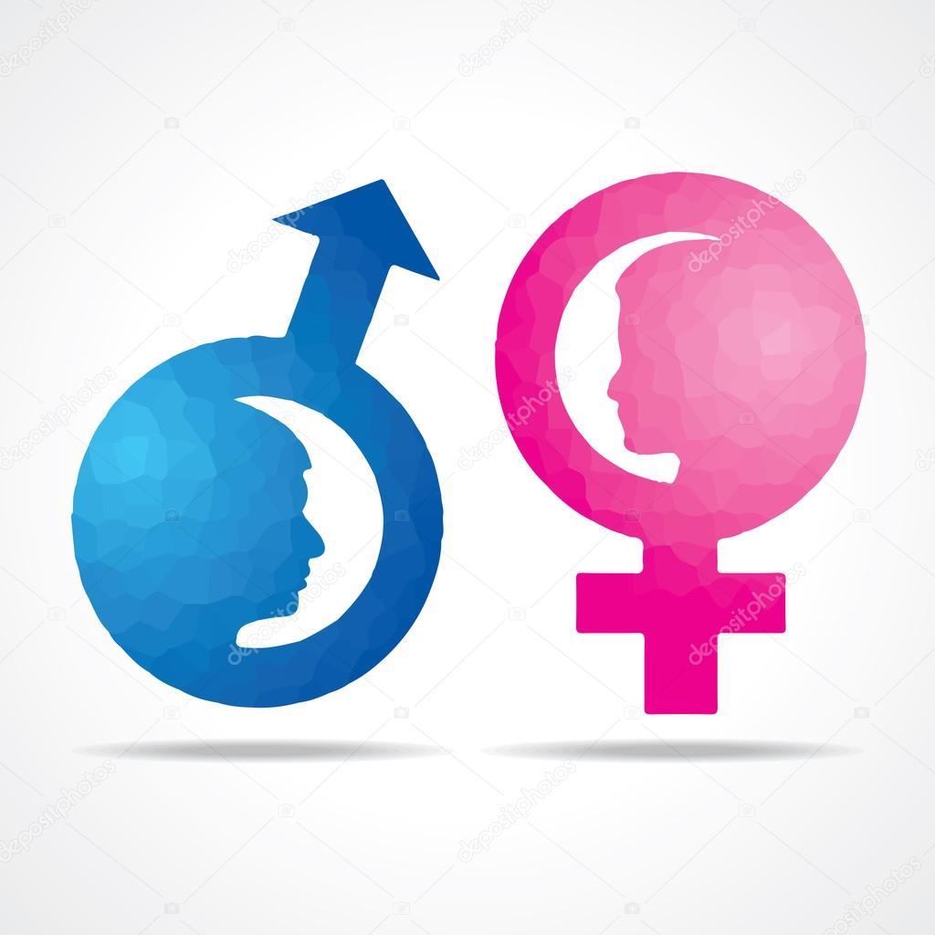 Ilustração do símbolo feminino masculino com rosto feminino — Vetores de Stoc -> Simbolo Banheiro Feminino E Masculino