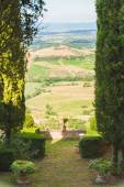 View from the garden to the fields of Tuscany, Italy — Stockfoto