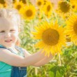 Beautiful girl plays with the sunflowers in a summer day — Stock Photo #52452279