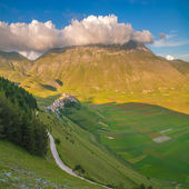 Summer day in the beautiful and colorful area of Castelluccio di — Stock Photo