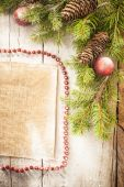 Christmas background on a wooden rustic old table — Stock Photo