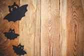 Halloween background on a wooden table — Stockfoto