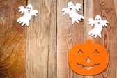 Halloween achtergrond op een houten tafel — Stockfoto