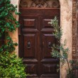 Door in the alley of the old Tuscan town, Italy — Stock Photo #61709793