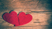 St. Valentine's Heart on a wooden table rural background — Photo