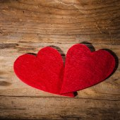 St. Valentine's Heart on a wooden table rural background — Stock Photo