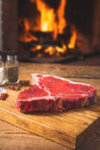 Rustic Fresh steak with spices before throwing a barbecue with a — Stock Photo