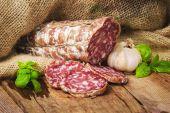 Sausage salami in a rural setting — ストック写真