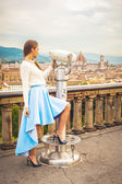 Beautiful fashion woman impressed panorama view Florence. — Stock Photo
