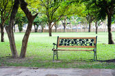 Wood chair in park — Stock Photo
