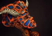 Woman in devil mask — Stock Photo