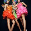 Women in carnival dresses and wigs — Stock Photo #57222569
