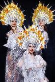 Women in carnival dresses with kokoshniks — Stock Photo