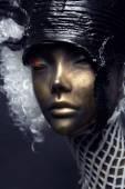 Mannequin in black head-wear — Stock Photo