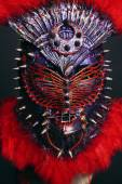 Steel mask with spikes and red feathers — Stock Photo