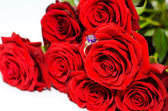 Red roses and a ring — Stock Photo
