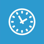 Time icon, white on the blue background — Stock Vector