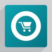 Flat shopping cart ico — Vetor de Stock