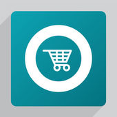 Flat shopping cart ico — Stock Vector