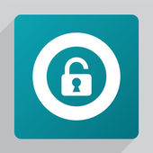 Flat unlock ico — Stock Vector