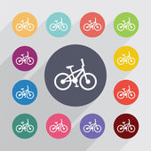 Bike circle, flat icons set — Stockvektor