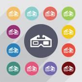 3d movie service circle, flat icons set — Stock Vector