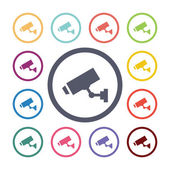 Security camera flat icons se — Stock Vector