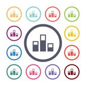 Levels flat icons se — Stock Vector