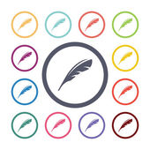 Feather flat icons se — Wektor stockowy