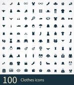 100 clothes icons se — Vetor de Stock