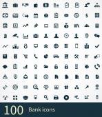 100 bank icons se — Stock Vector