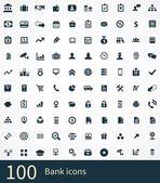 100 bank icons se — Vetor de Stock